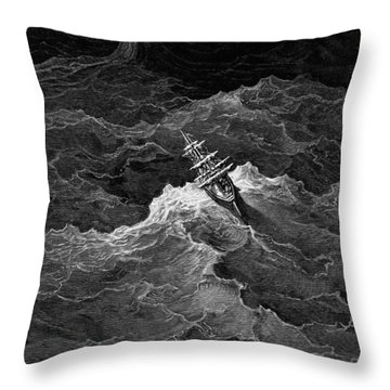 Ship In Stormy Sea Throw Pillow