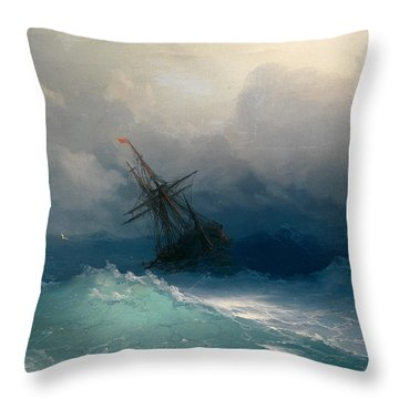 Ship On Stormy Seas Throw Pillow