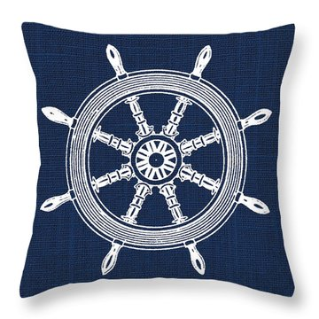 Ship Wheel Nautical Print Throw Pillow