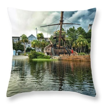 Ship Wrecked At The Disney Yacht And Beach Club Resort Throw Pillow by Thomas Woolworth
