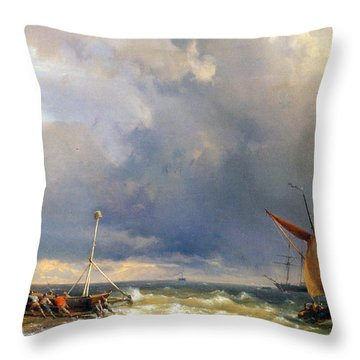 Shipping In A Stiff Breeze Throw Pillow by Hermanus Koekkoek
