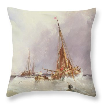 Shipping In The Solent 19th Century Throw Pillow by George the Elder Chambers
