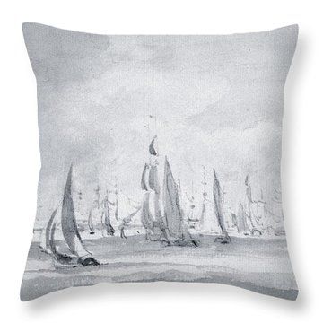 Shipping In The Thames Throw Pillow