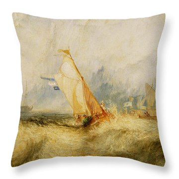 Ships A Sea Getting A Good Wetting Throw Pillow by Joseph Mallord