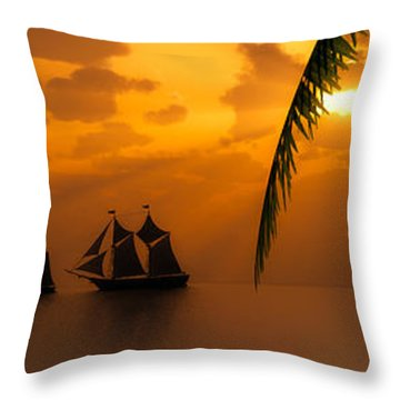 Ships And The Golden Dawn... Throw Pillow