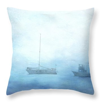 Ships In The Morning Haze  Throw Pillow