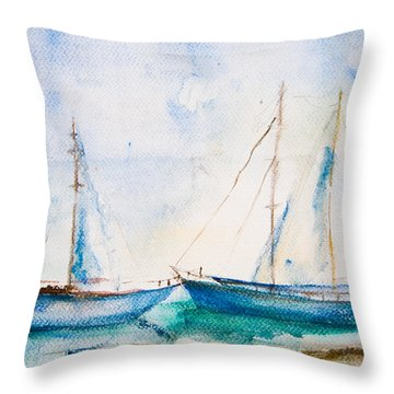 Ships In The Sea Throw Pillow