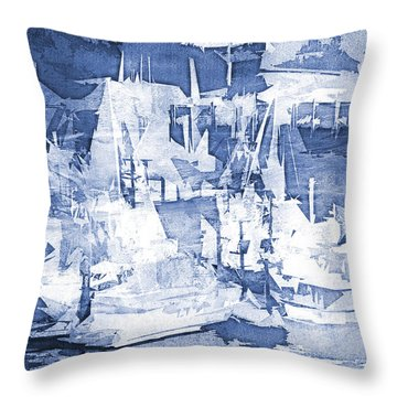 Ships In The Water Throw Pillow by Davina Washington