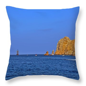 Throw Pillow featuring the photograph Ships Lining Up At Land's End by Christine Till