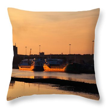 Ships Moored At The New Docking Throw Pillow