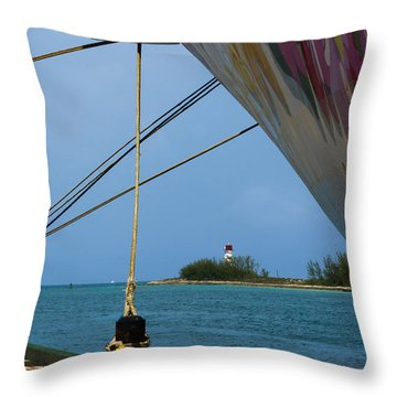 Ship's Ropes And Lighthouse Throw Pillow
