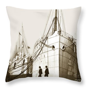 Throw Pillow featuring the photograph Steam Ships San Francisco California   Circa 1900 Historical Photo by California Views Mr Pat Hathaway Archives