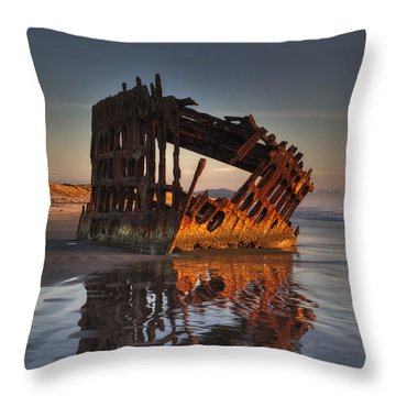 Shipwreck At Sunset Throw Pillow by Mark Kiver