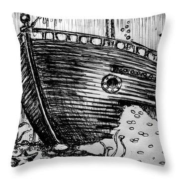 Throw Pillow featuring the painting Shipwreck by Salman Ravish