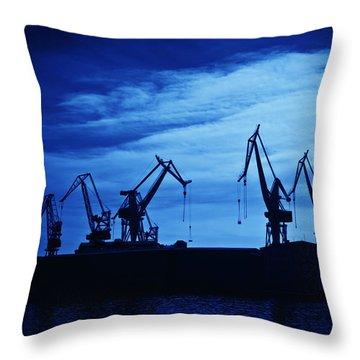 Shipyard Crane Throw Pillow