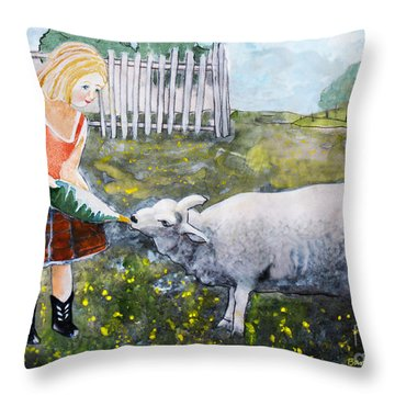 Shirley And Curly Throw Pillow by Barbara McMahon