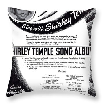 Shirley Temple Song Album Throw Pillow