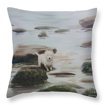 Throw Pillow featuring the painting Shirley's Dog by Martin Howard