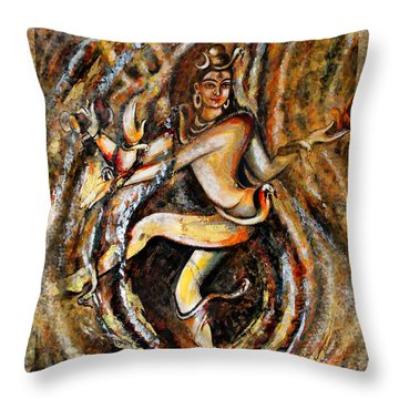 Throw Pillow featuring the painting Shiva Eternal Dance by Harsh Malik