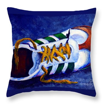 Throw Pillow featuring the painting Shoeless by Jackie Carpenter