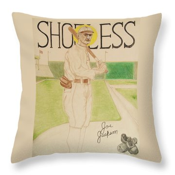 Throw Pillow featuring the painting Shoeless Joe Jackson by Rand Swift