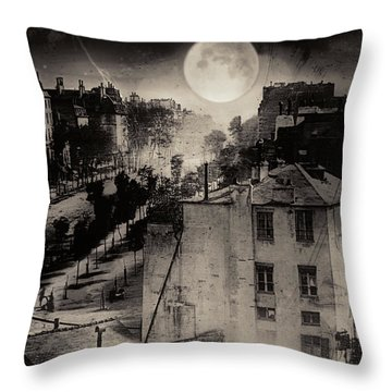 Shoeshine On The Boulevard Du Temple 1838  Paris Throw Pillow