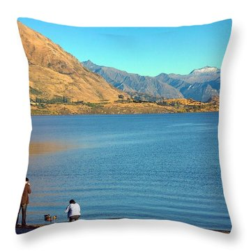 Throw Pillow featuring the photograph Shooting Ducks On Lake Wanaka by Stuart Litoff