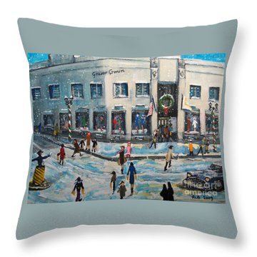 Shopping At Grover Cronin Throw Pillow by Rita Brown