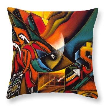 Shopping Throw Pillow by Leon Zernitsky
