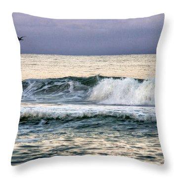 Throw Pillow featuring the digital art Shore Break by Phil Mancuso