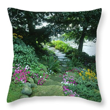 Shore Path - Lake Geneva Wisconsin Throw Pillow