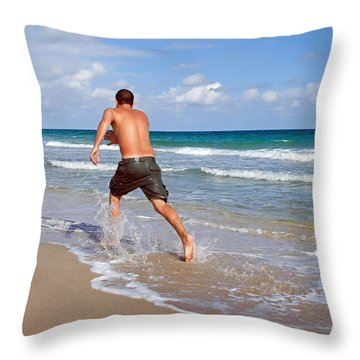 Shore Play Throw Pillow by Keith Armstrong