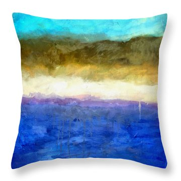 Shoreline Abstract Throw Pillow by Michelle Calkins