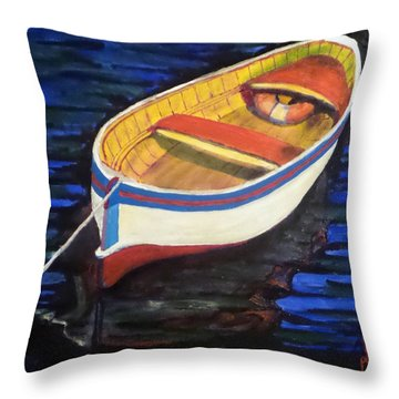 Throw Pillow featuring the painting Shoreline Taxi by Jim Phillips