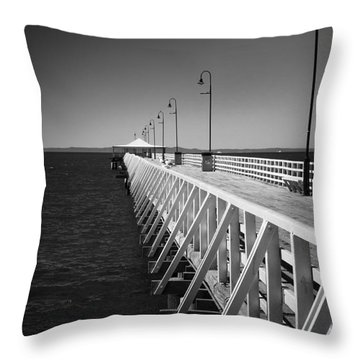 Shorncliffe Pier In Monochrome Throw Pillow by Peta Thames