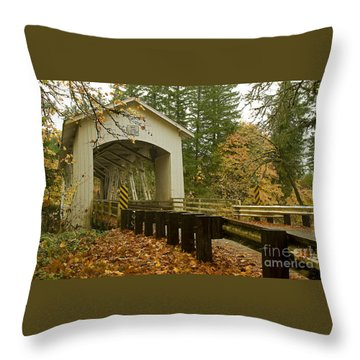 Throw Pillow featuring the photograph Short Covered Bridge by Nick  Boren