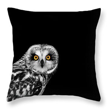 Short-eared Owl Throw Pillow by Mark Rogan