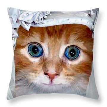 Shotgun Bride  Cats In Hats Throw Pillow by Michele Avanti