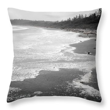 Winter At Wickaninnish Beach Throw Pillow