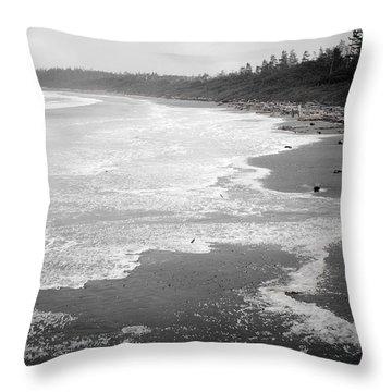 Winter At Wickaninnish Beach Throw Pillow