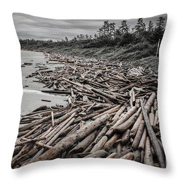 Shoved Ashore Driftwood  Throw Pillow