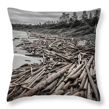 Shoved Ashore Driftwood  Throw Pillow