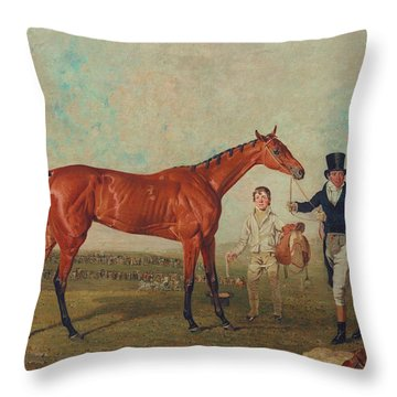 Shoveller Held By Her Trainer Will Chifney Throw Pillow by Benjamin Marshall