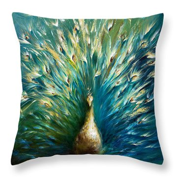 Show Off 3 White Peacock Throw Pillow