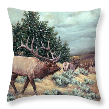 Throw Pillow featuring the painting Showdown by Craig T Burgwardt