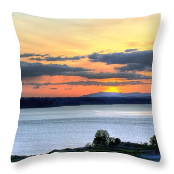 Throw Pillow featuring the photograph Showers Over Mcneil Island - Chambers Bay Golf Course by Chris Anderson