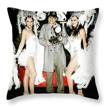 Showgirls And Photographer With Polaroid Throw Pillow by Nina Prommer