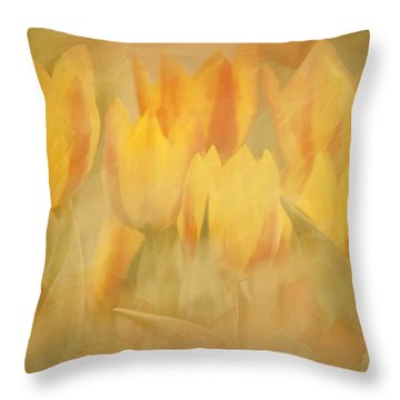Throw Pillow featuring the digital art Showtime Tulips by Linda Blair