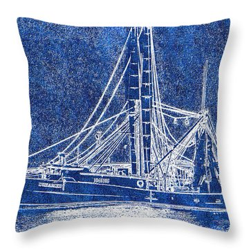 Shrimp Boat - Dock - Coastal Dreaming Throw Pillow by Barry Jones