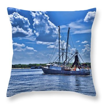 Shrimp Boat Heading To Sea Throw Pillow